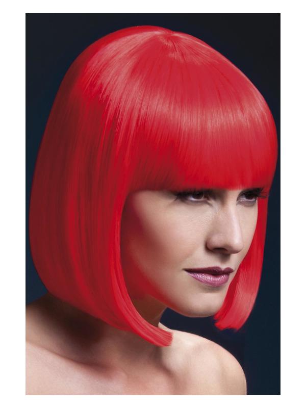 Fever Elise Wig, Neon Red, Sleek Bob with Fringe, 33cm / 13in