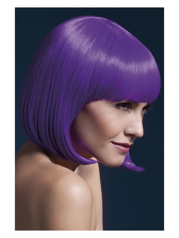 Fever Elise Wig, Neon Purple, Sleek Bob with Fringe, 33cm / 13in