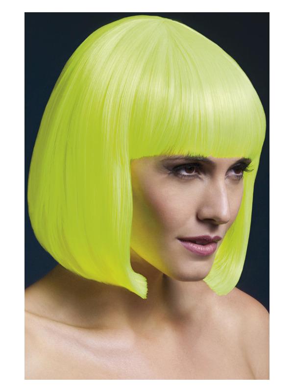 Fever Elise Wig, Neon Yellow, Sleek Bob with Fringe, 33cm / 13in