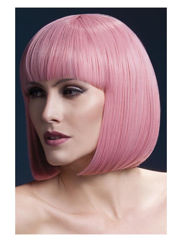 Fever Elise Wig, Pastel Pink, Sleek Bob with Fringe, 33cm / 13in