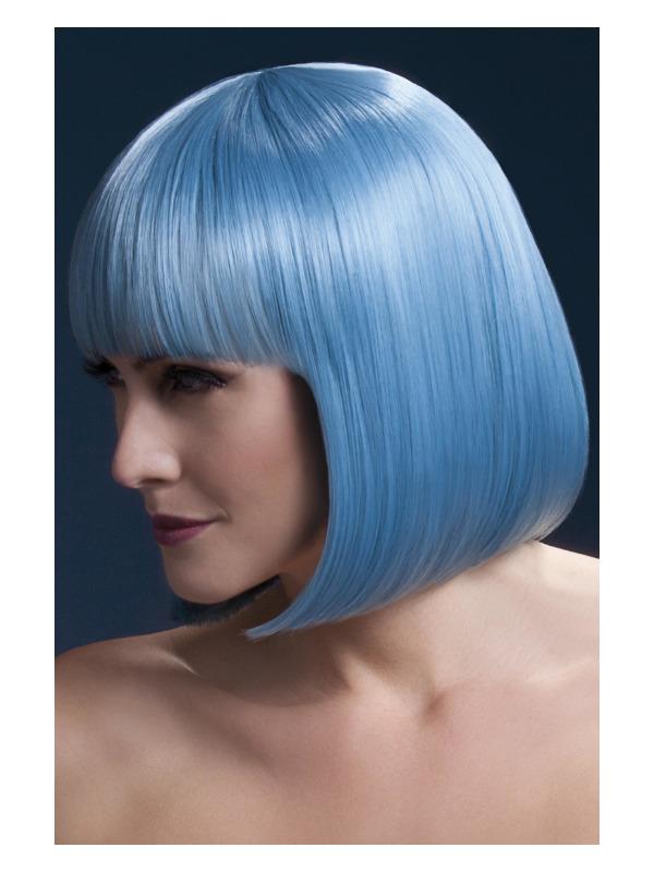 Fever Elise Wig, Pastel Blue, Sleek Bob with Fringe, 33cm / 13in