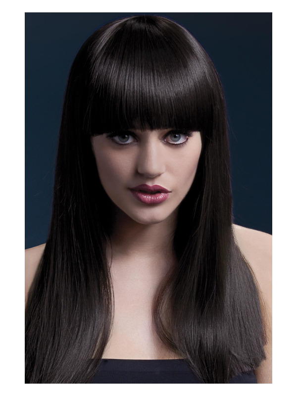 Fever Alexia Wig, Brown, Long Blunt Cut with Fringe, 38cm / 19in