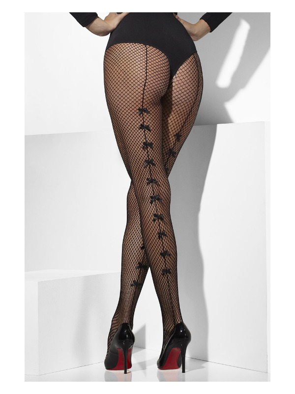 Fishnet Tights, Black, with Satin Bows