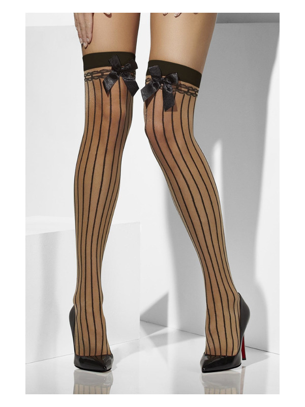 Sheer Hold-Ups, Nude, Vertical Stripes and Bows