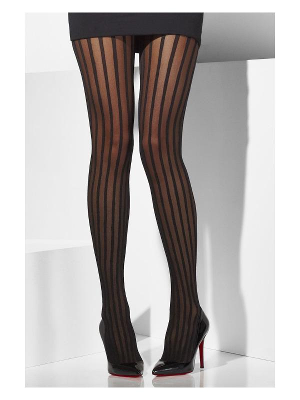 Sheer Tights, Black, Vertical Stripes