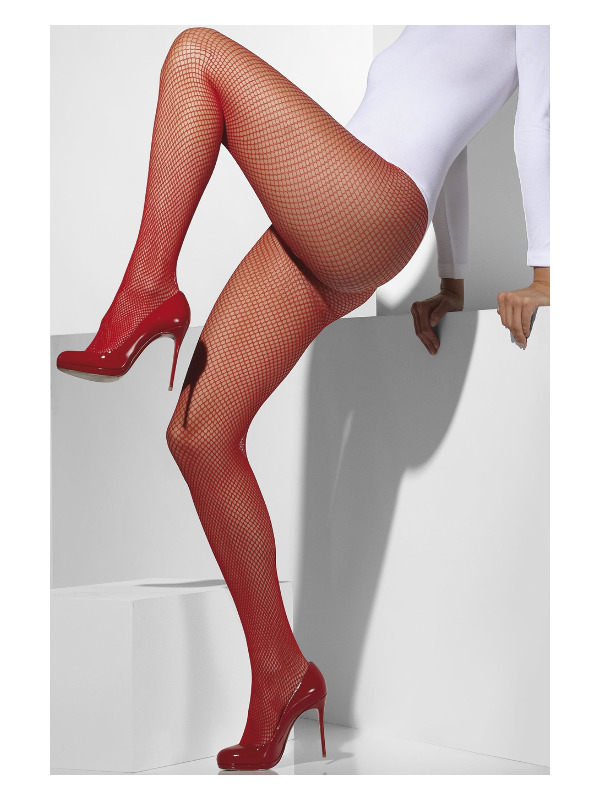 Fishnet Tights, Red