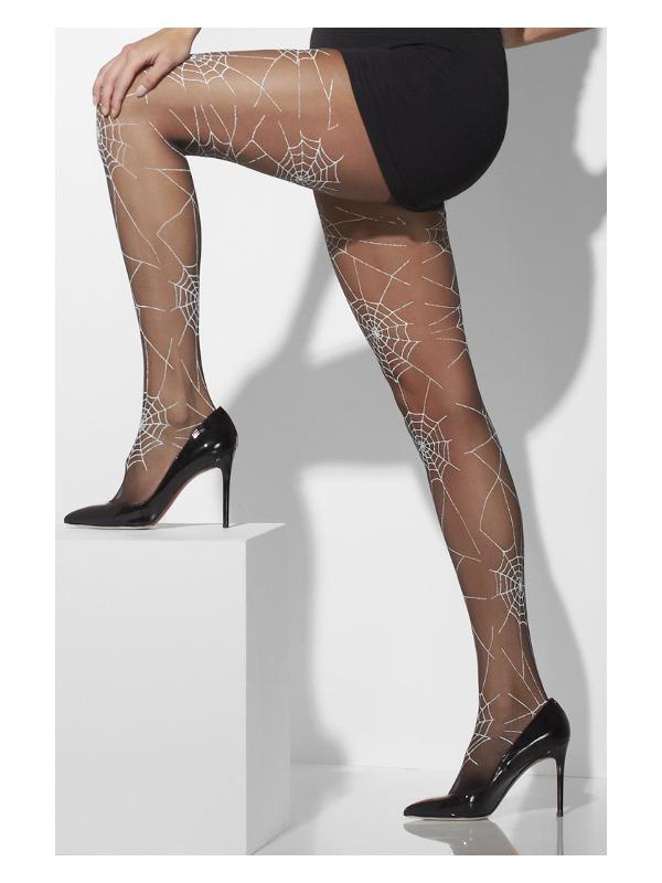 Tights, Black, Spiderweb Print