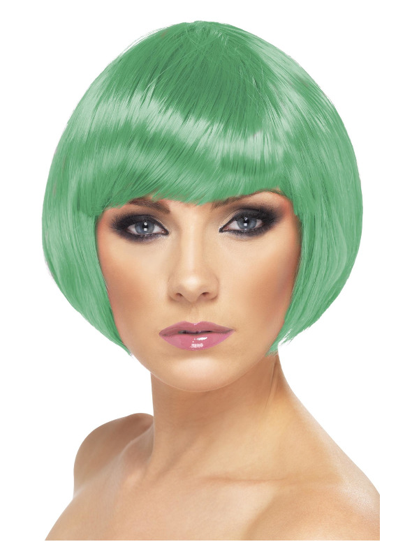 Babe Wig, Dark Green, Short Bob with Fringe