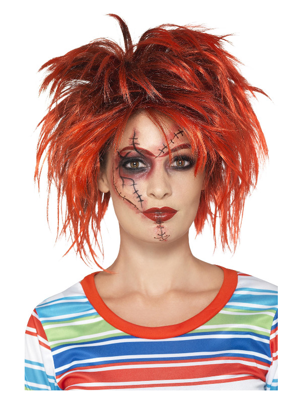 Chucky Make-Up Kit, Black & Red, With Make-Up, Brush & Tattoo Transfers