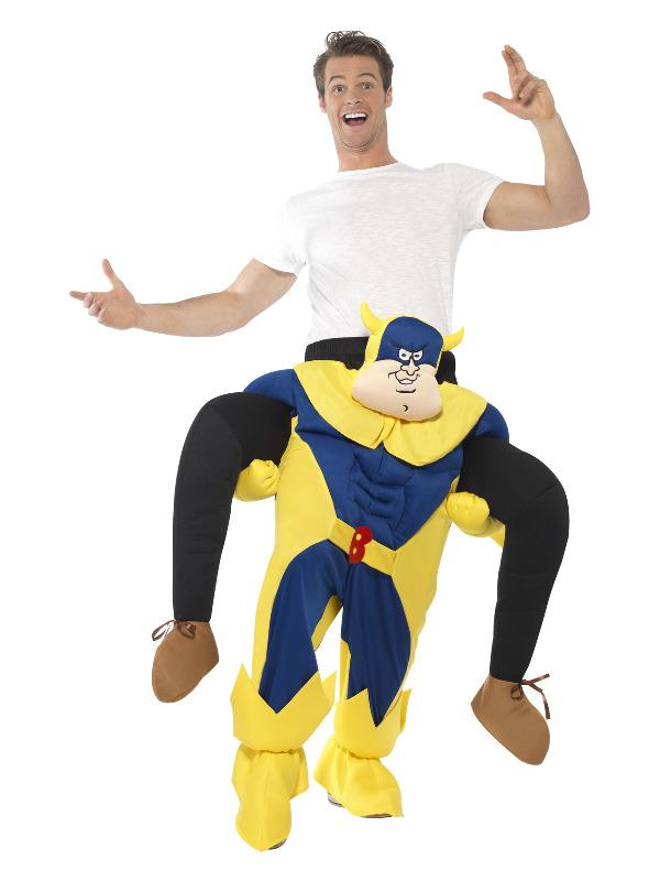 Bananaman Piggy Back Costume, Blue, One Piece Suit with Mock Legs