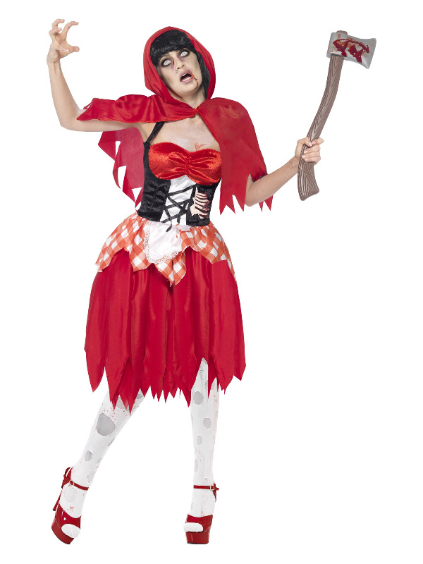 Zombie Hooded Beauty Costume, Red