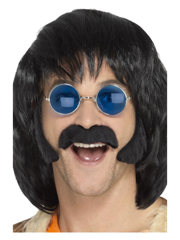 Hippie Disguise Set, Black, with Porkchop Sideburns & Moustache, Self Adhesive