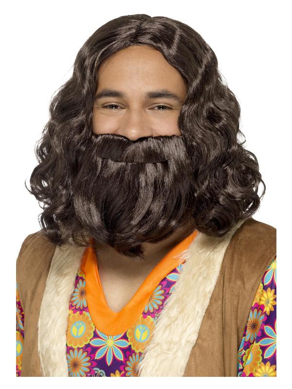 Hippie/Jesus Wig & Beard Set, Brown