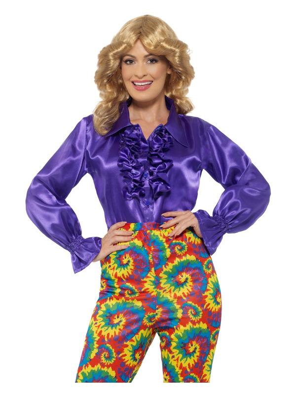 Satin Ruffle Shirt, Ladies, Purple