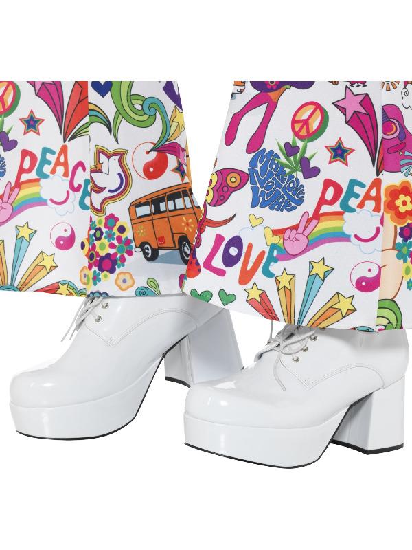 70s Mens Platform Shoes, Size UK 8/ US 9, White