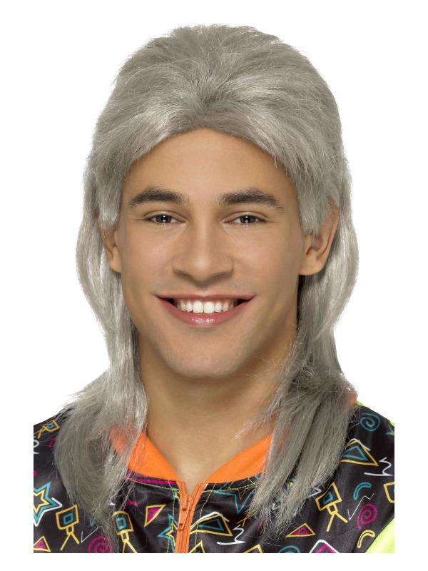 80s Mullet Wig, Grey