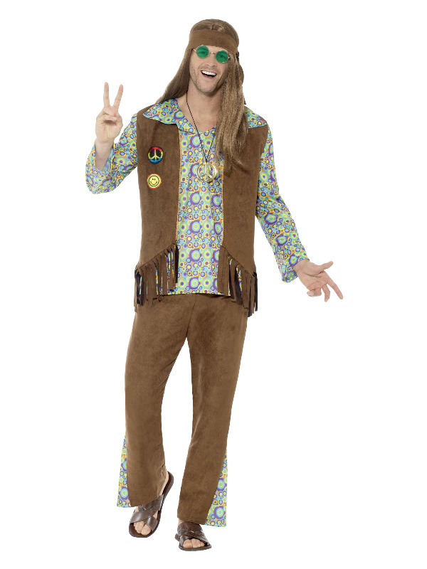 60s Hippie Costume, with Trousers, Top, Waistcoat,