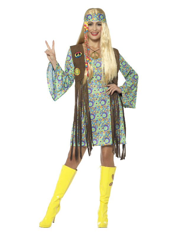 60s Hippie Chick Costume, with Dress, Multi-Colour