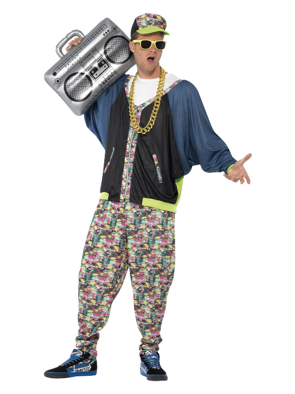 80s Hip Hop Costume, Patterned, with Jacket, Trousers & Hat