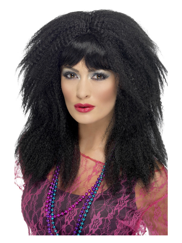80s Trademark Crimp Wig, Black, Layered, Long, with Fringe