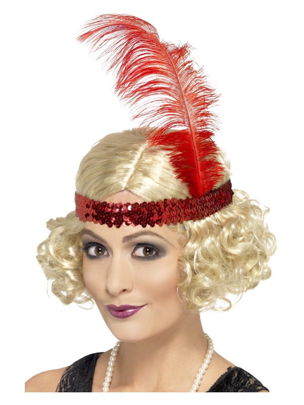 Charleston Wig, Blonde, Curly with Sequin Headband