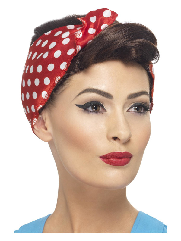 40s Rosie Wig, Brown, with Headscarf