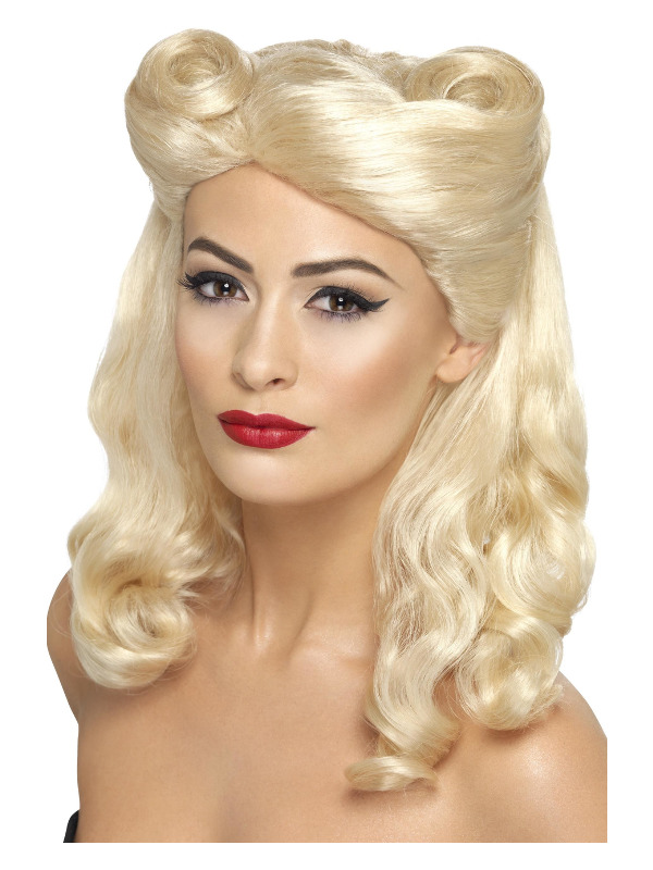 40s Pin Up Wig, Blonde, with Victory Rolls