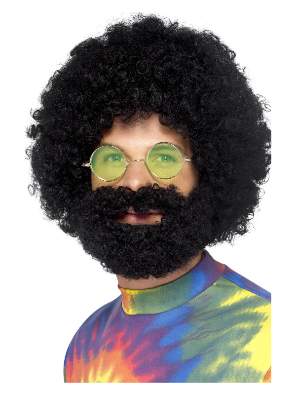Groovy Dude Afro Wig and Beard, Black