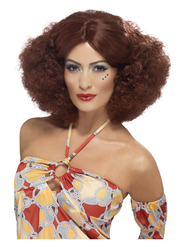 70s Afro Wig, Auburn, with Middle Parting