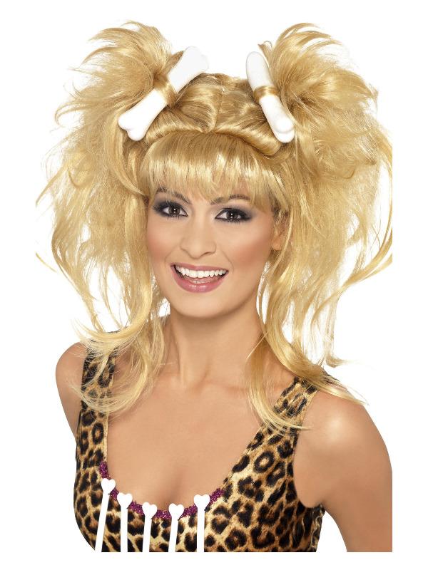 Crazy Cavegirl Bunches Wig, Blonde, with Bones