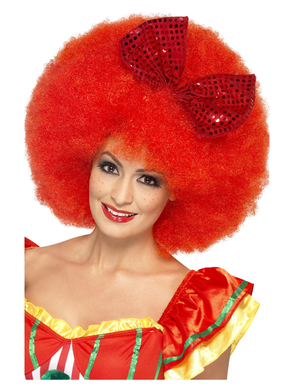 Mega Afro Clown Wig, Red, with Sequin Bow