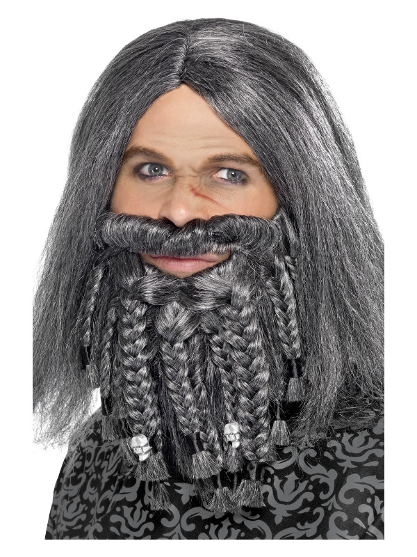 Terror of the Sea Pirate Wig and Beard Set, Grey