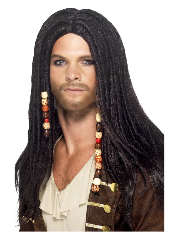 Pirate Wig, Black, with Beads