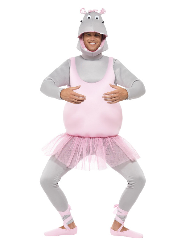 Ballerina Hippo Costume, Pink, with Top, Trousers Headpiece & Shoe Covers