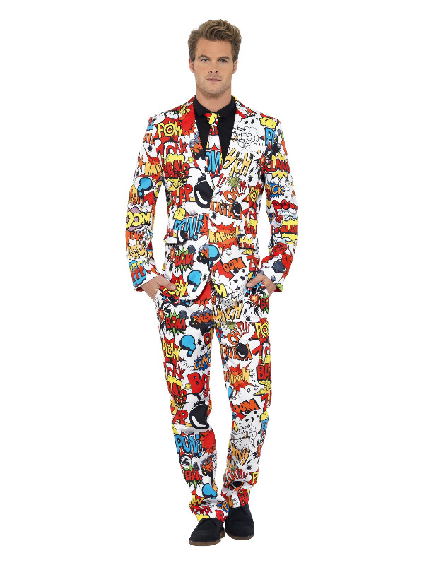 Comic Strip Suit, Red & White