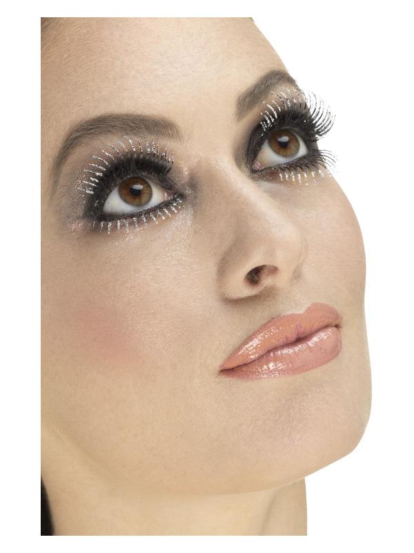 Eyelashes, Silver, Top & Bottom Set, Glitter, Contains Glue