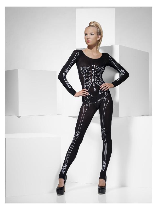 Skeleton Print Bodysuit, Black