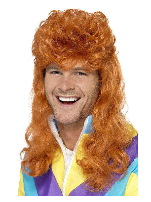 80s Super Mullet Wig, Ginger
