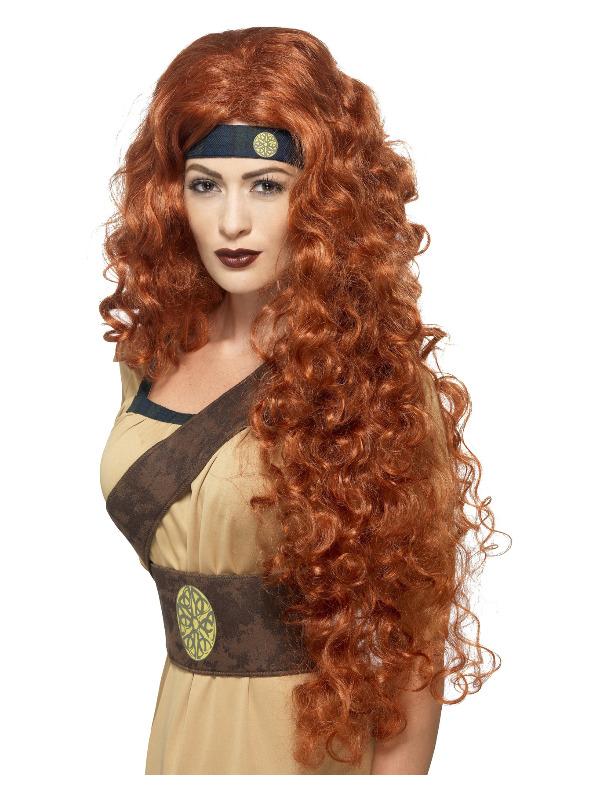 Medieval Warrior Queen Wig, Auburn, Extra Long