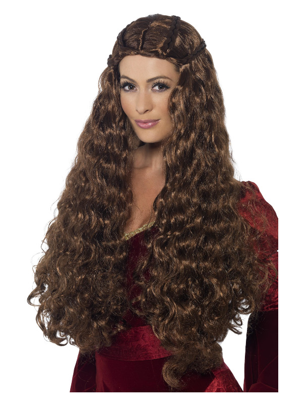 Medieval Princess Wig, Brown, Extra Long, with Plaits