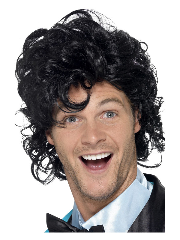 80s Prom King Perm Wig, Black