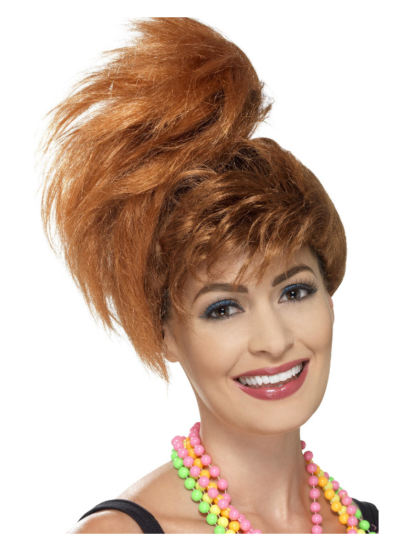 80s Side Ponytail Wig with Fringe, Auburn
