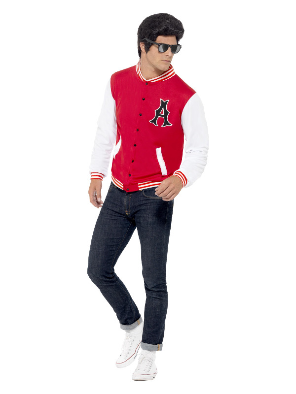 50s College Jock Letterman Jacket, Red