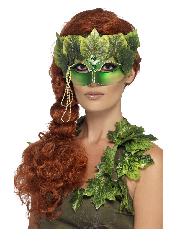 Forest Nymph Eyemask, with Fabric Leaves and Jewels