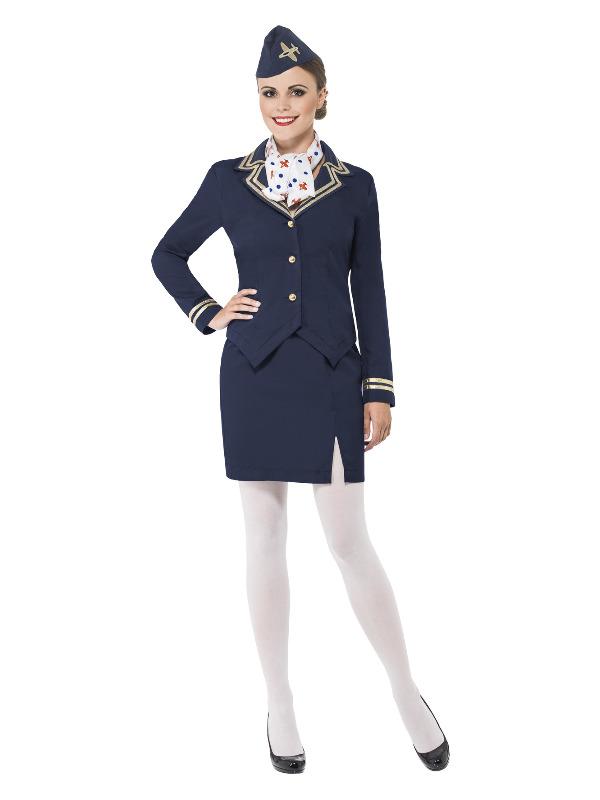 Airways Attendant Costume, Blue