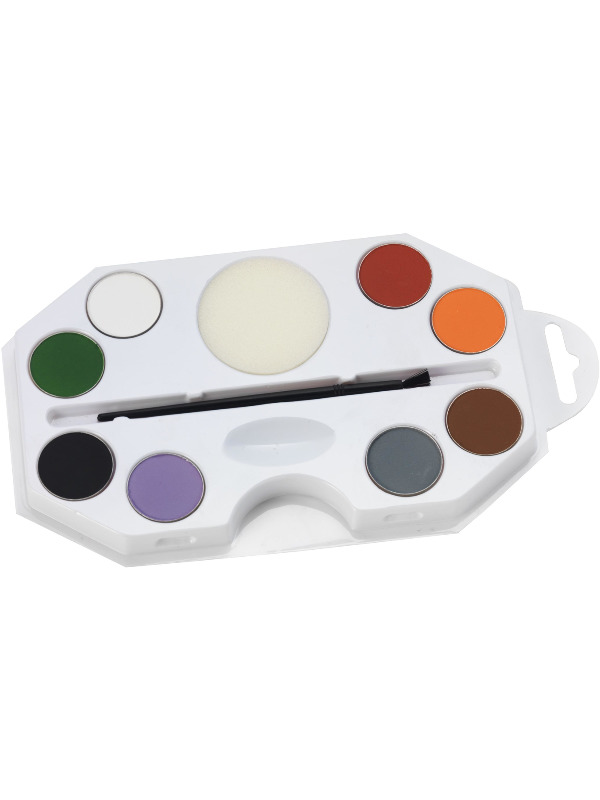 Smiffys Make-Up FX, Halloween Character Kit, Aqua, Assorted Colours, with 8 Colour Palette, Sponge & Applicator