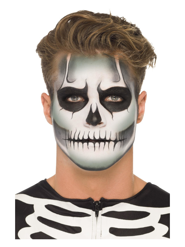 Smiffys Make-Up FX, GID Skeleton Kit, Grease, Black & White, with 8 Colour Palette, Sponge & Applicator