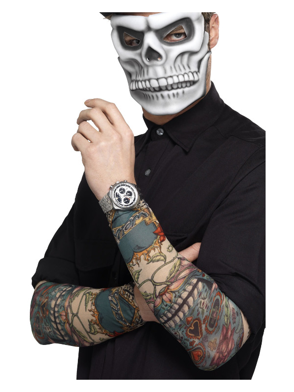 Day of the Dead Tattoo Sleeve, Multi-Coloured, 2 Pack