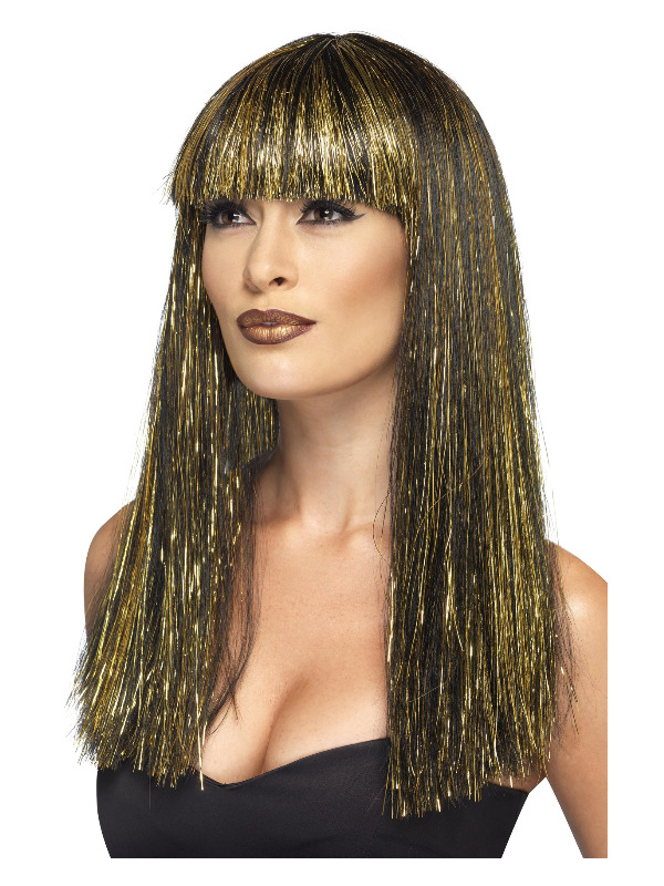 Egyptian Goddess Wig, Black, with Gold Tinsel