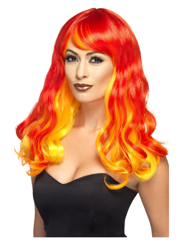 Ombre Devil Flame Wig, Red & Orange